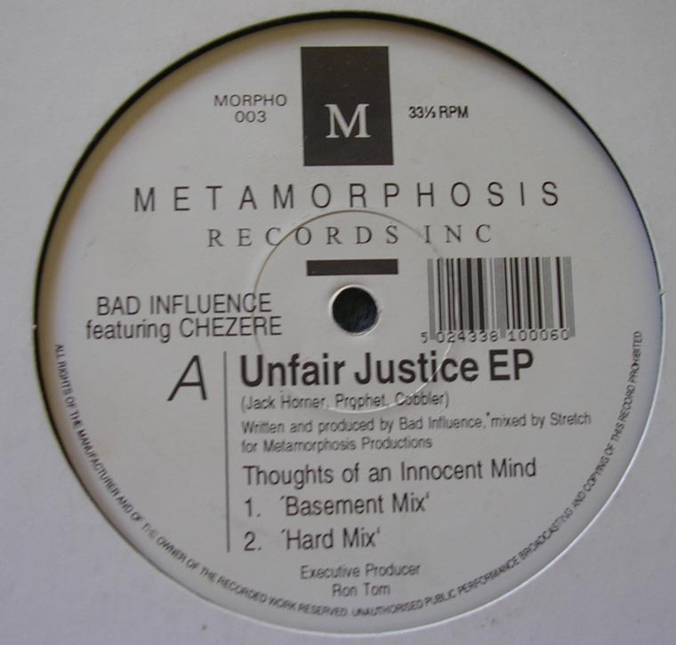 Bad Influence Unfair Justice Ep By Metamorphosis Records